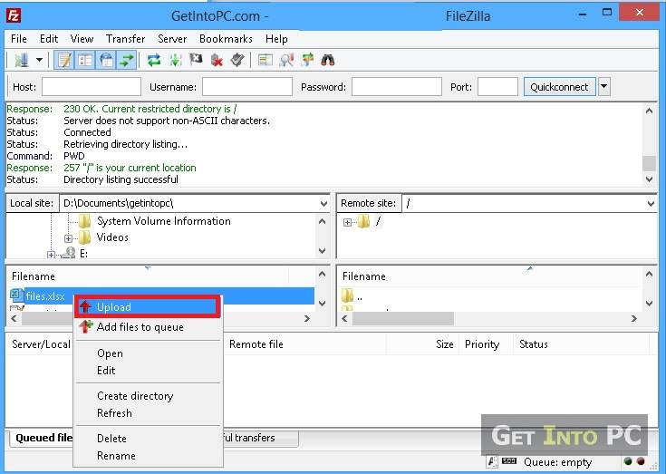 how to use filezilla to upload files