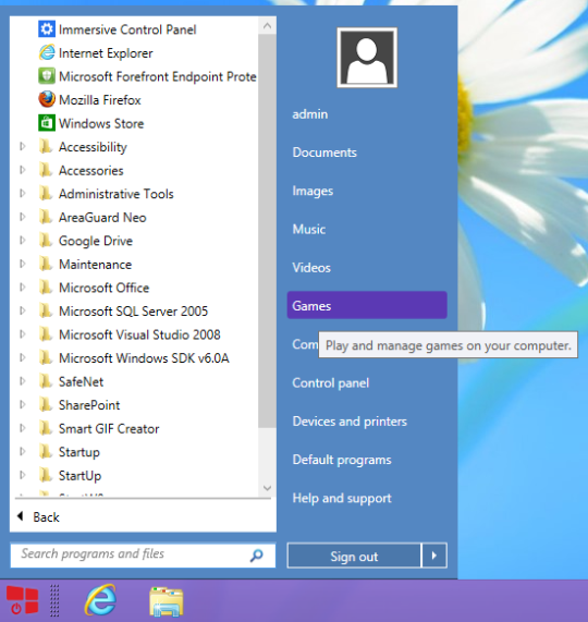 Bring start button option in windows 8