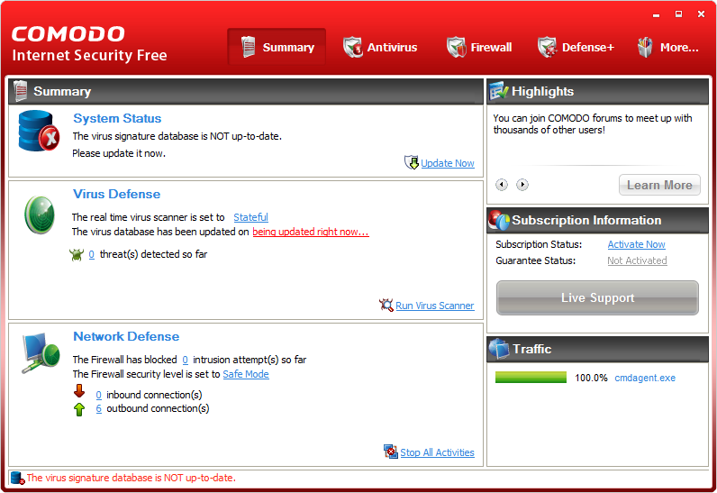 Comodo Internet Security settings