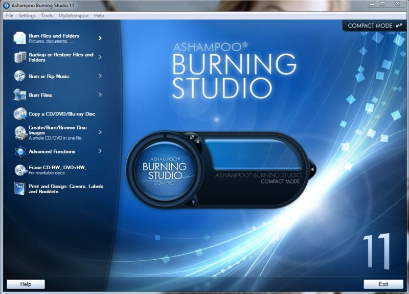 Ashampoo Burning Studio Interface