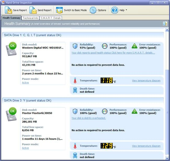 HArd Drive Inspector Professional Interface