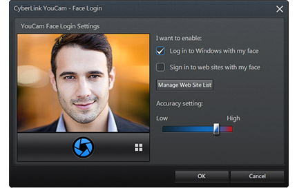 YouCam Face Log In feature