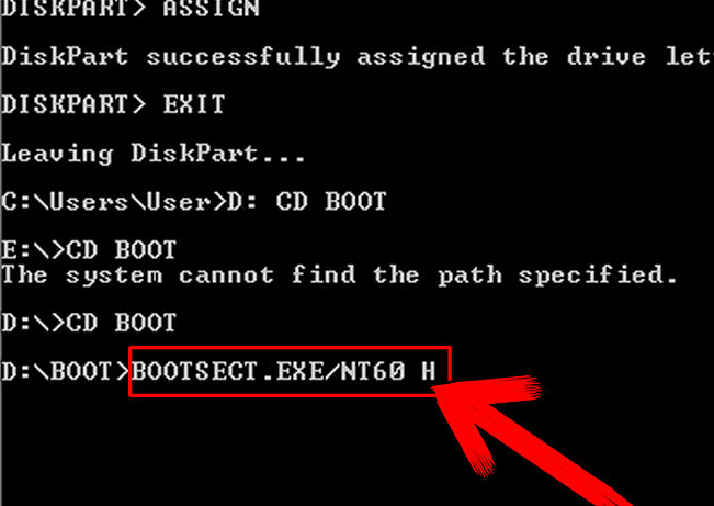 bootsect.exe windows 7 64 bits