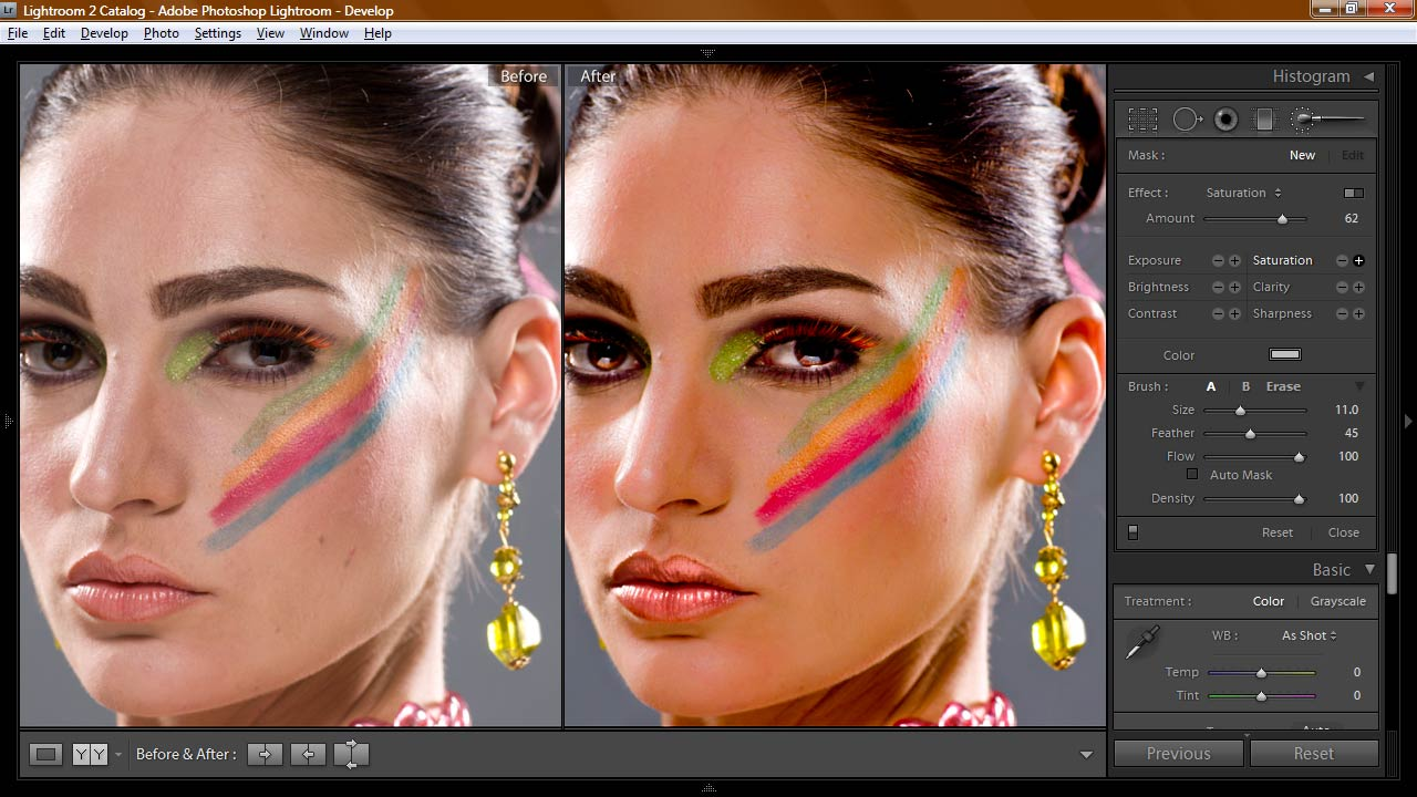 Retouching model in Adobe Lightroom