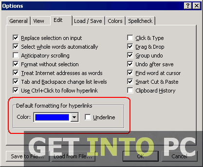 Atlantis Word Processor Settings options