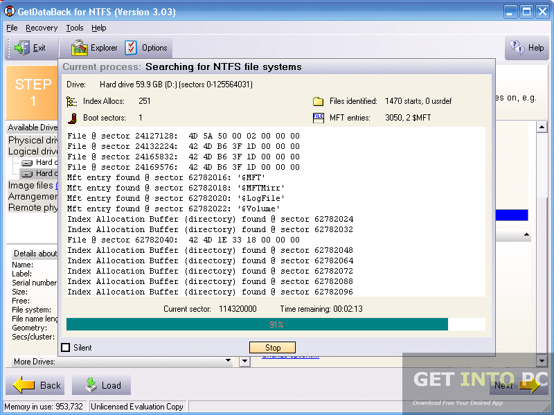 Getdataback for ntfs инструкция