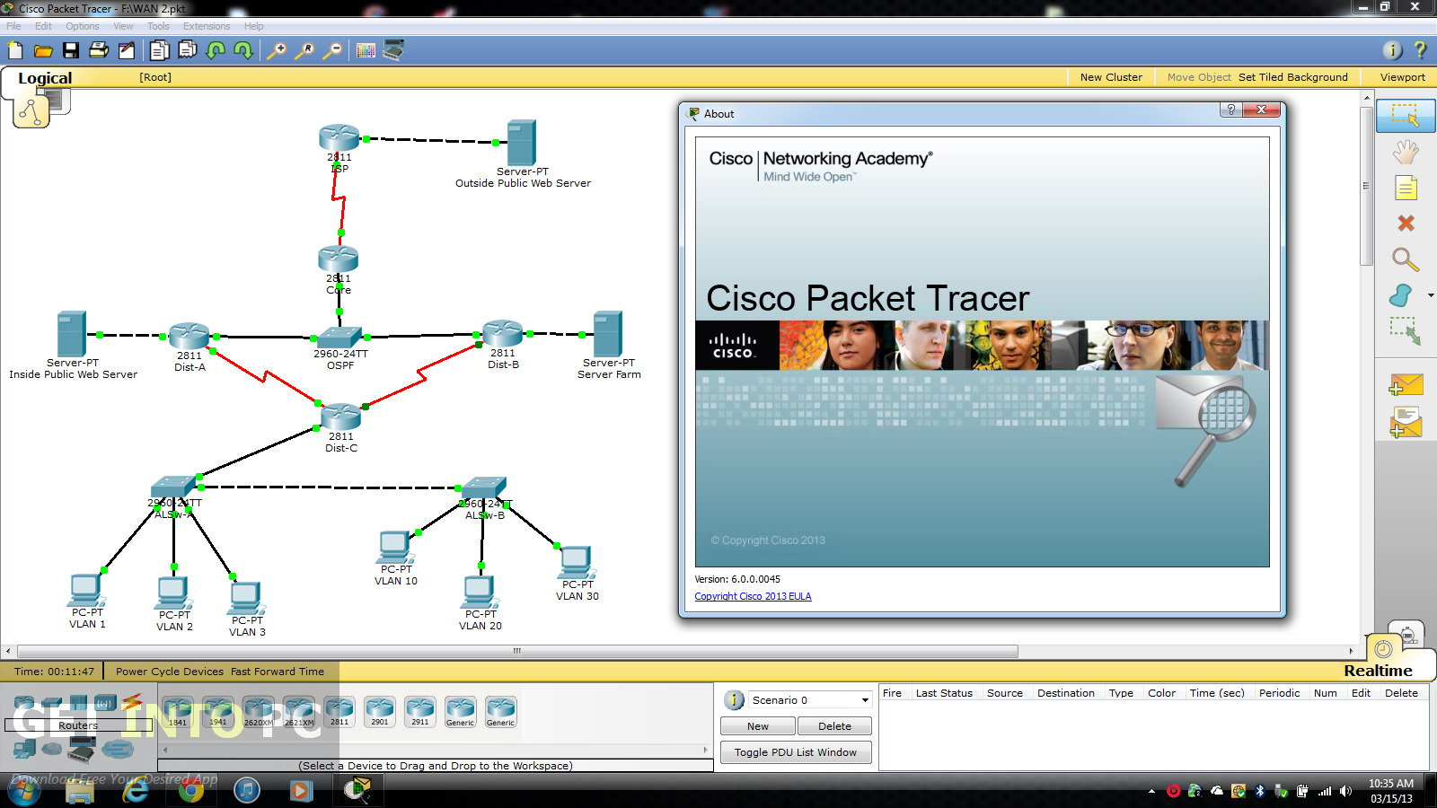 gratuitement cisco packet tracer 6.0.1