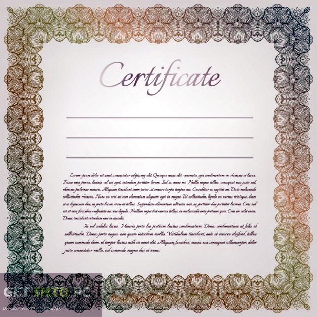 Certificate Diploma Elegant Template Vector Free Download