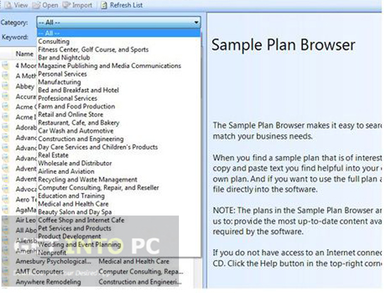 Business Plan Pro Overview