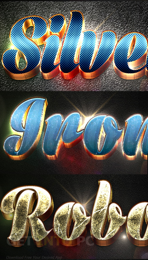 Graphicriver 12 3D Text Effects v4 Free Download