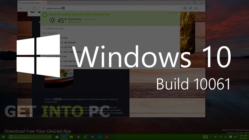 Windows 10 Build 10061 ISO 32/64 Bit Free Download
