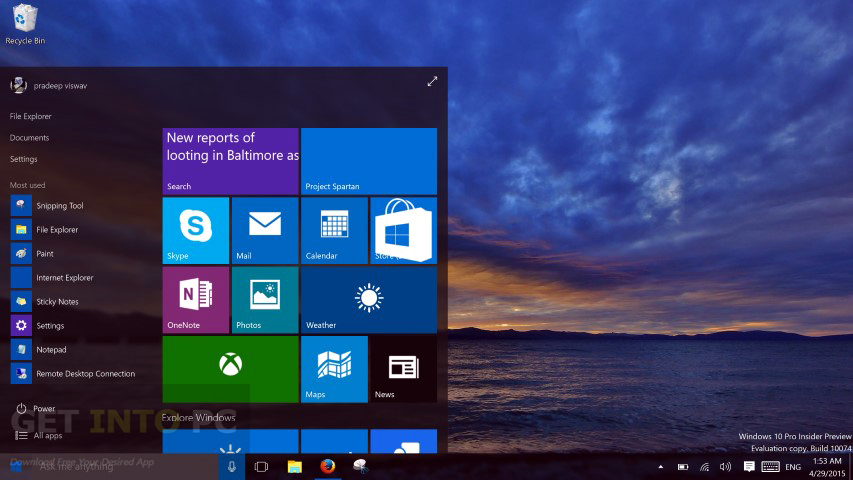 Windows 10 Build 10074 ISO 32 64 Bit Direct Link Download