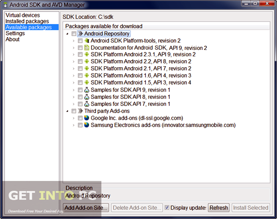 Android SDK Offline Installer Download