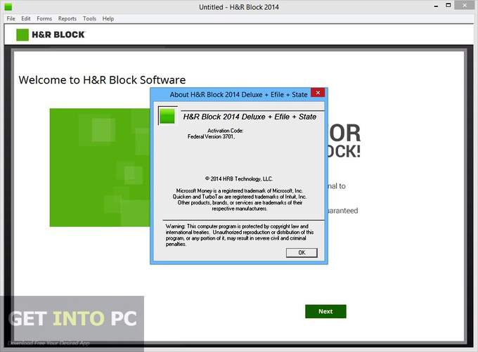 HRBlock Deluxe Efile State 2014 ISO CD Offline Installer Download