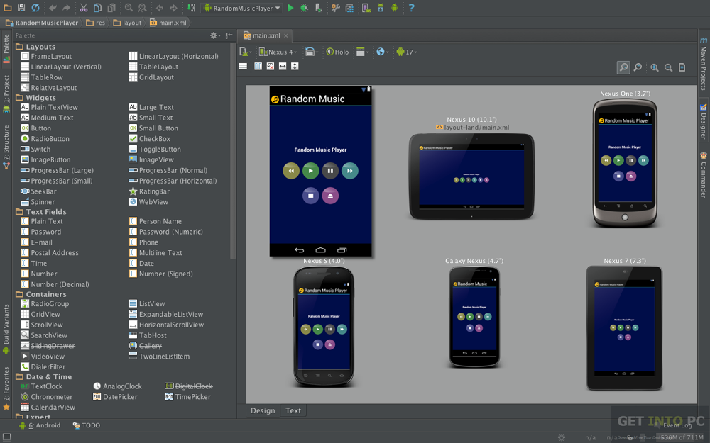 Android Studio Design Menu Vs App Menu
