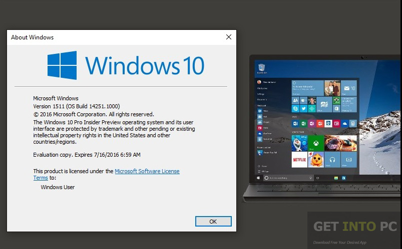 Windows 10 Pro Build 14251 x64 ISO Offline Installer Download