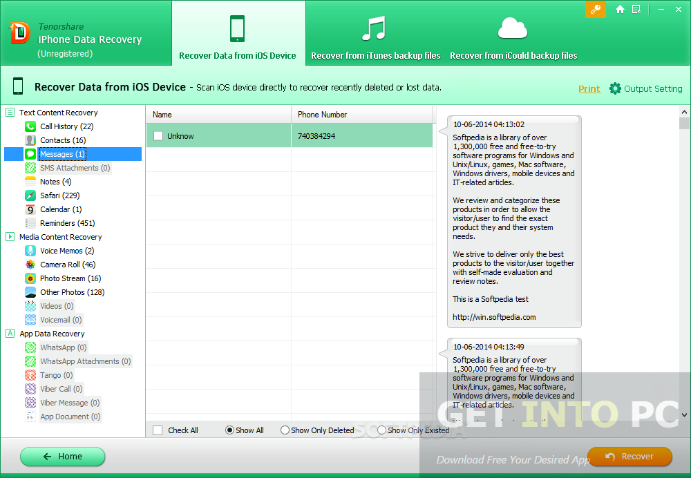 Tenorshare iPhone Data Recovery Offline Installer Download