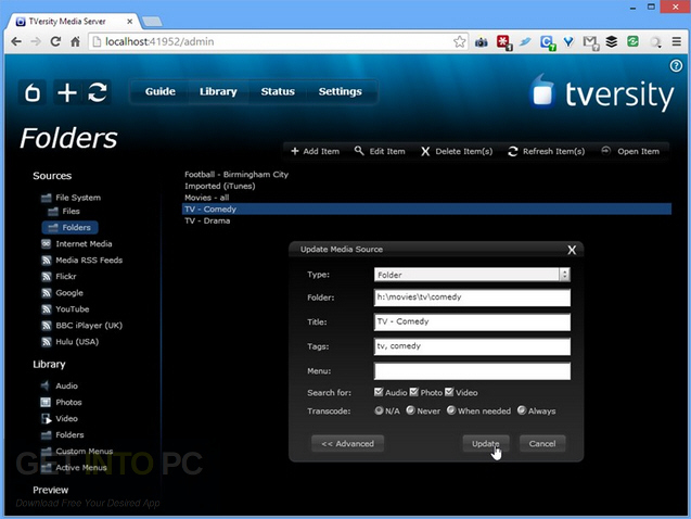 TVersity Pro Media Server Offline Installer Download
