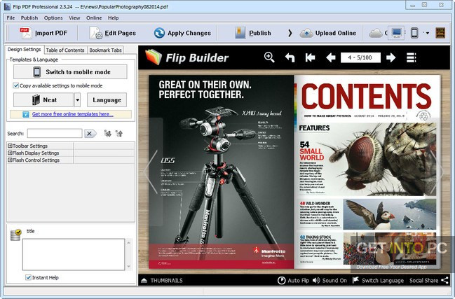 FlipBuilder Flip PDF Professional Free Download