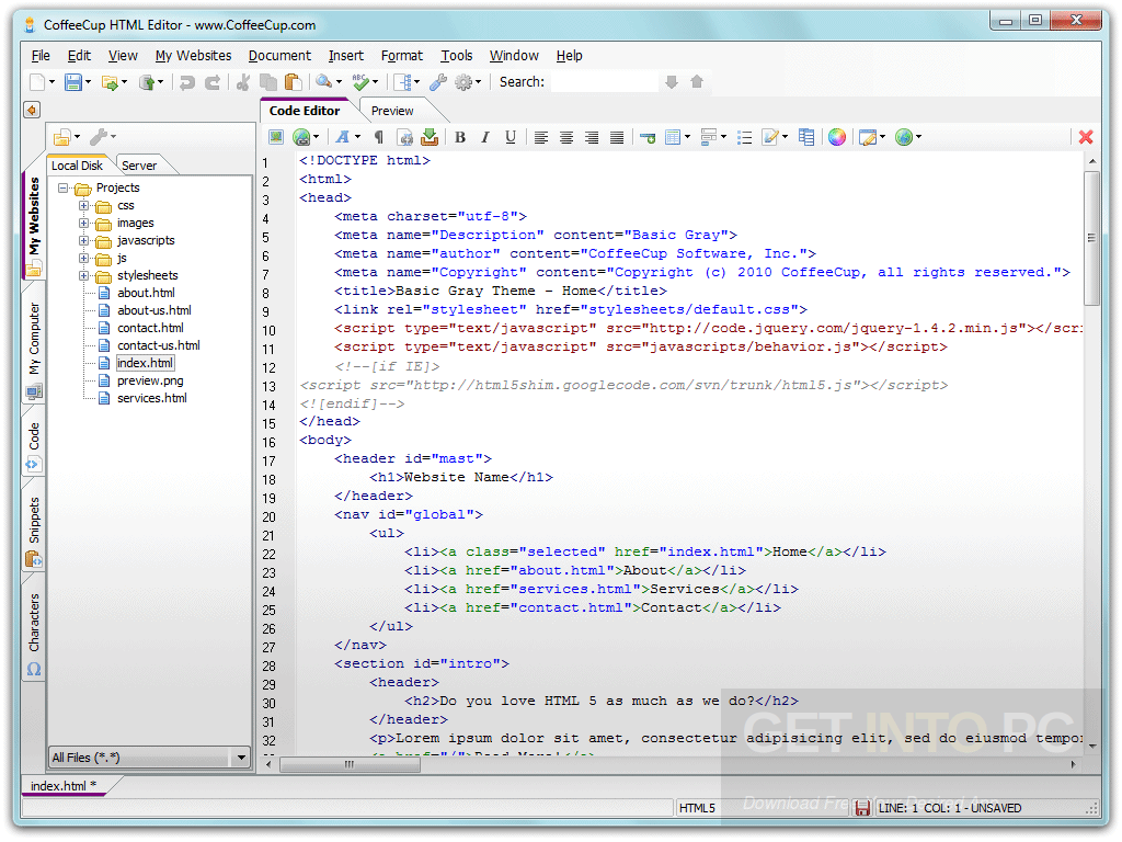 CoffeeCup HTML Editor Offline Installer Download
