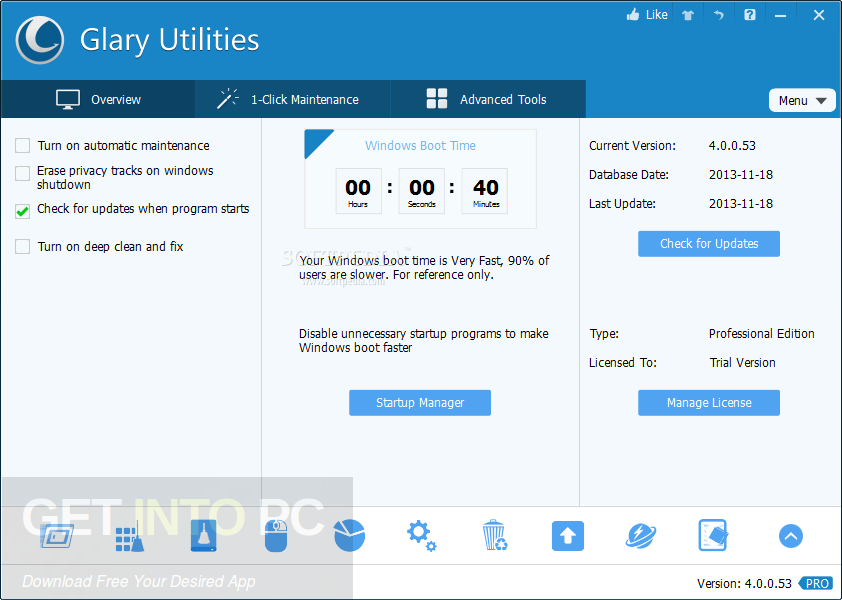 Glary Utilities Pro 5.98.0.120 + Portable Direct Link Download