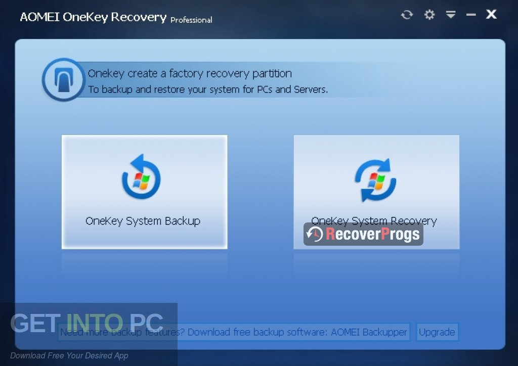 AOMEI OneKey Recovery Professional Latest Version Download-GetintoPC.com