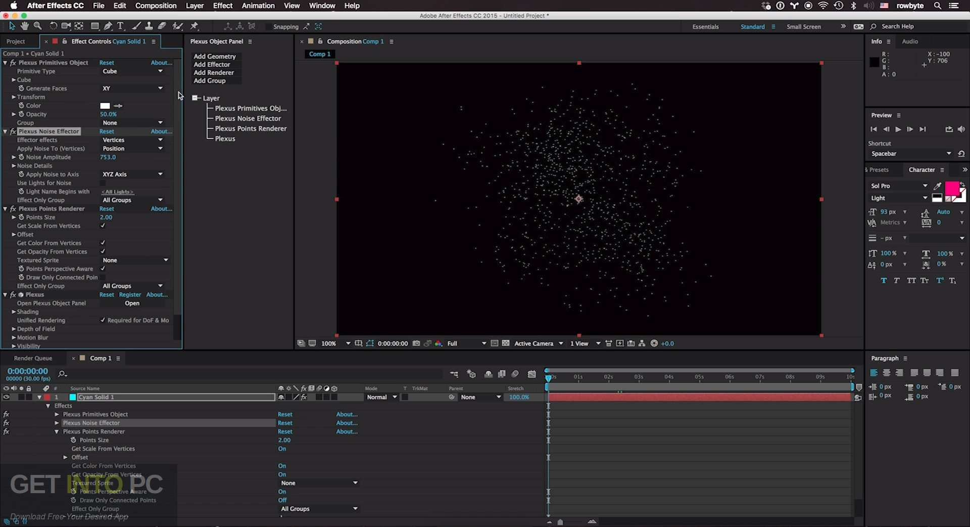 Rowbyte Plexus for Adobe After Effects for Mac OS X Direct Link Download-GetintoPC.com