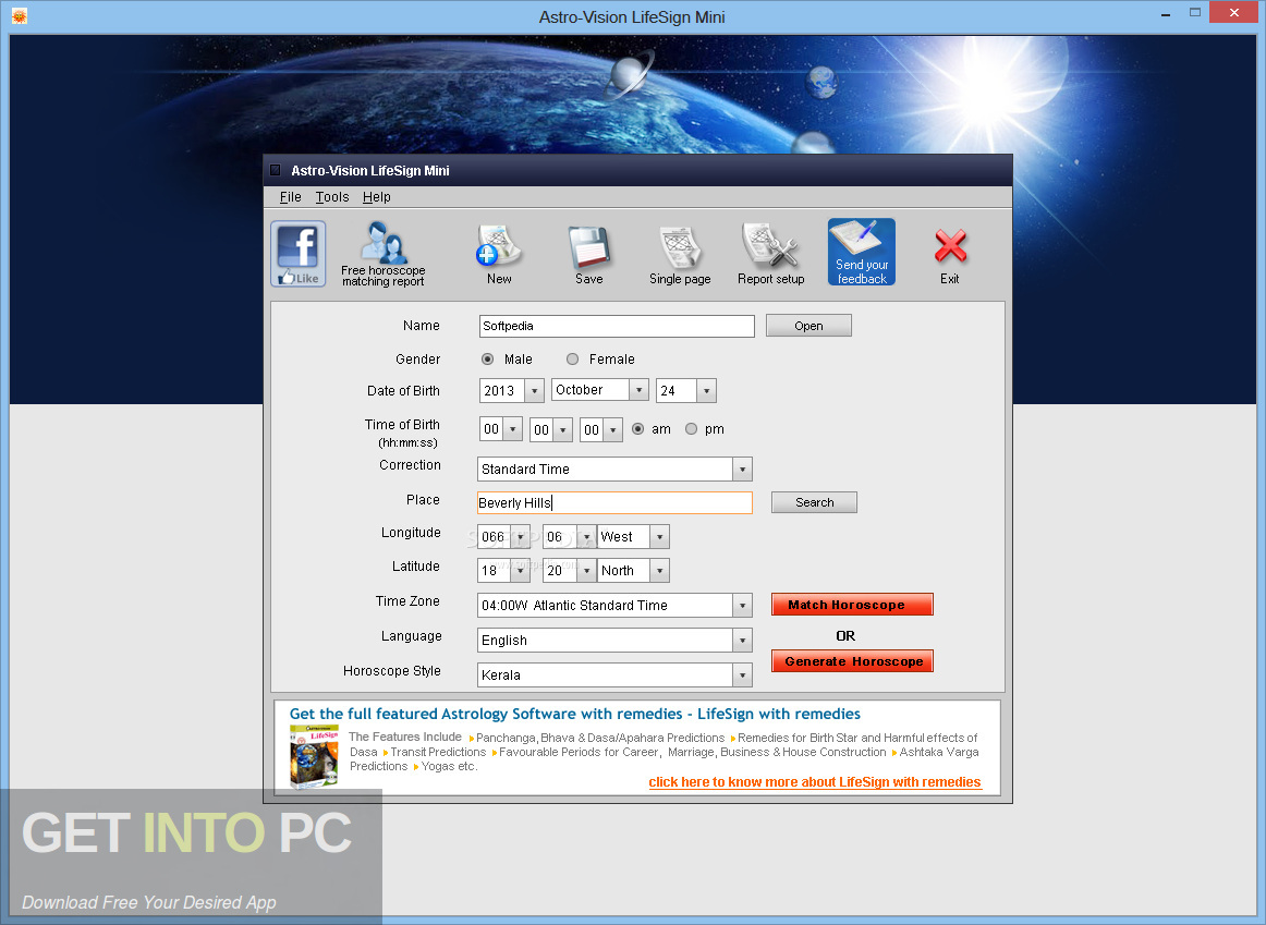 AstroVision LifeSign Mini Horoscope Software Latest Version Download-GetintoPC.com