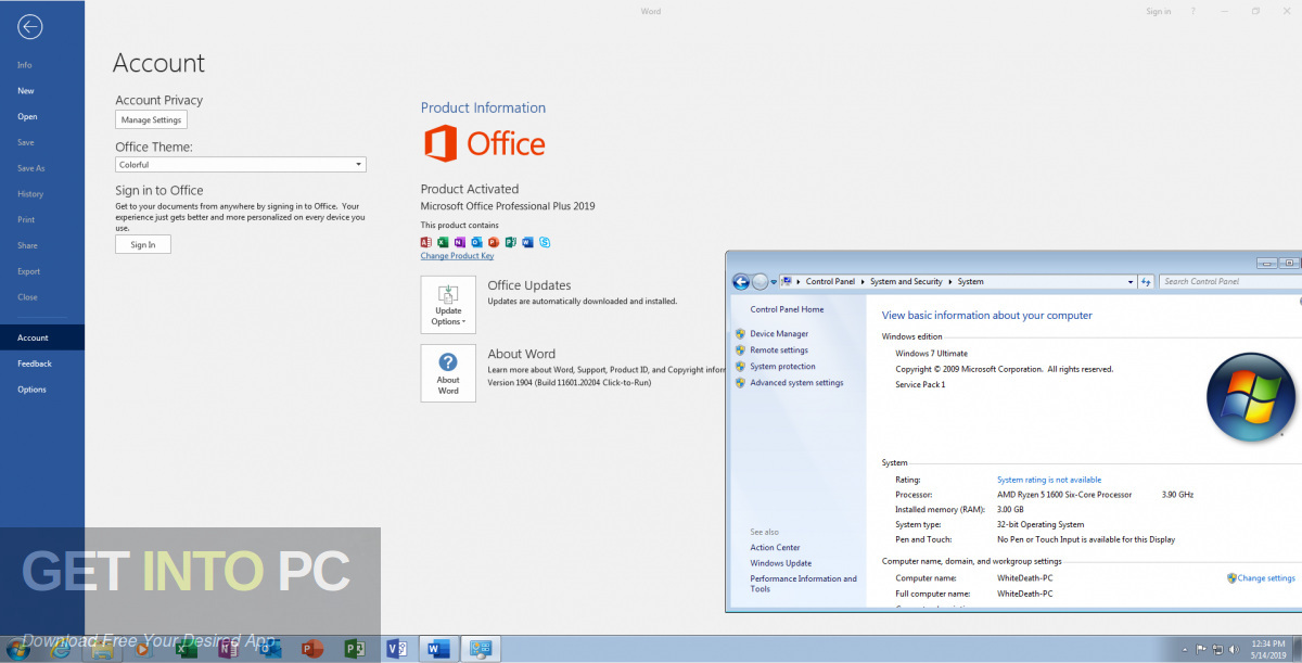 Office Professional Plus 2019 With May 2019 Updates Direct Link Download-GetintoPC.com