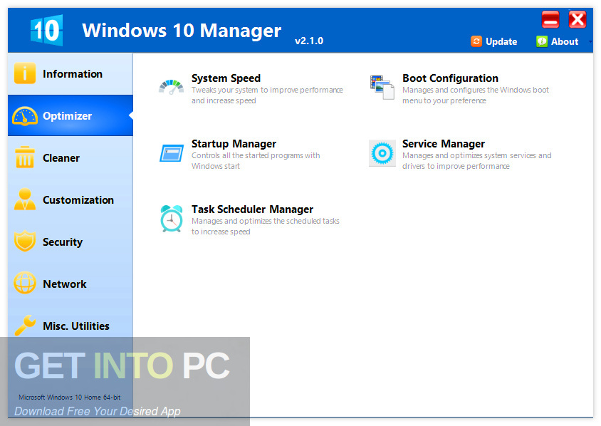 Yamicsoft Windows 10 Manager 2019 Direct Link Download-GetintoPC.com
