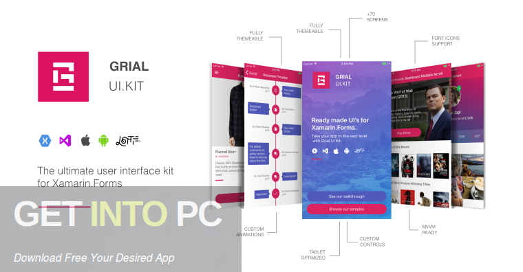 Grial-UI-Kit-for-Xamarin-Forms-Free-Download-GetintoPC.com_ Xamarin Ui Forms Examples on shell title view, custom renderer, profile codes, forms search box, forms master-detail, tablet application, settings page, forms navigation, forms listview, login page border, forms filtering,