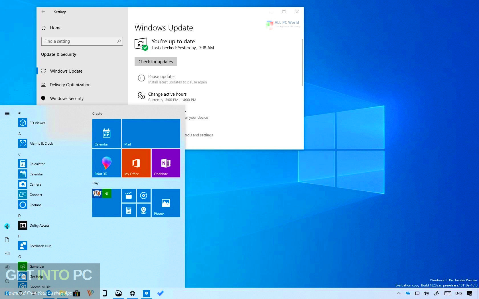 Windows 10 19H1 Updated Aug 2019 Direct Link Download-GetintoPC.com