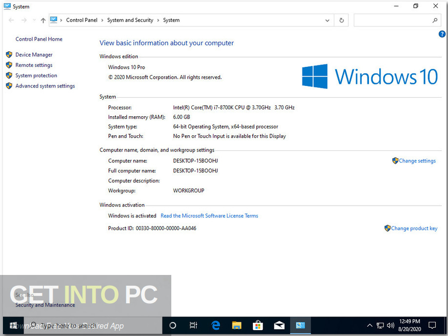 Windows 10 x64 Pro incl Office 2019 Updated Aug 2020 Screenshot 2-GetintoPC.com