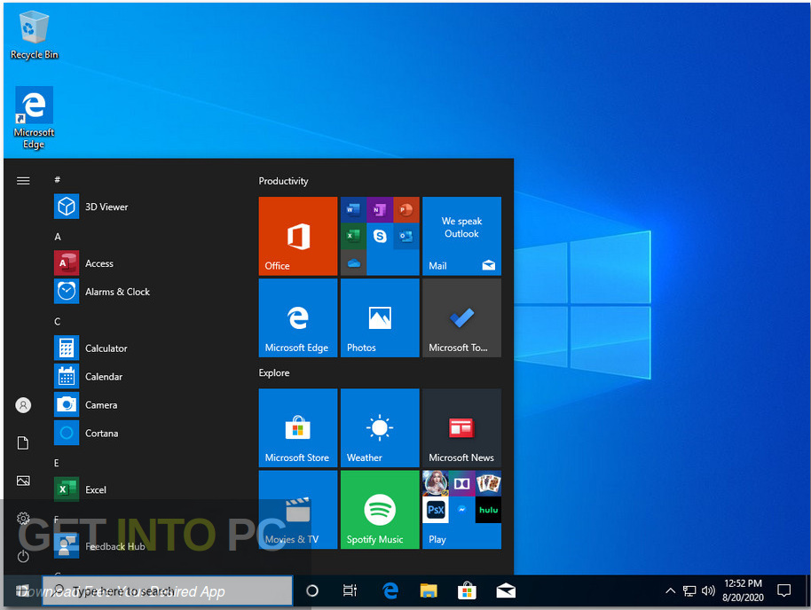 Windows 10 x64 Pro incl Office 2019 Updated Aug 2020 Screenshot 6-GetintoPC.com